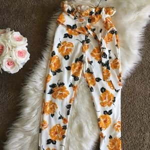 New PLT soft high waist floral print trousers